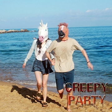 CreepyParty Deluxe Neuheit-Halloween-Kostüm-Party-Latex-Tierkopf-Schablone Einhorn -