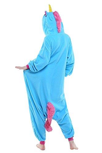 ABYED® Kostüm Jumpsuit Onesie Tier Fasching Karneval Halloween kostüm Erwachsene Unisex Cosplay Schlafanzug- Größe S - für Höhe 148-155cm, Blaue Einhorn - 5