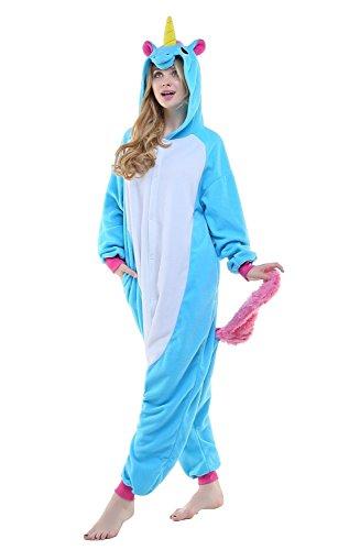 ABYED® Kostüm Jumpsuit Onesie Tier Fasching Karneval Halloween kostüm Erwachsene Unisex Cosplay Schlafanzug- Größe S - für Höhe 148-155cm, Blaue Einhorn - 2