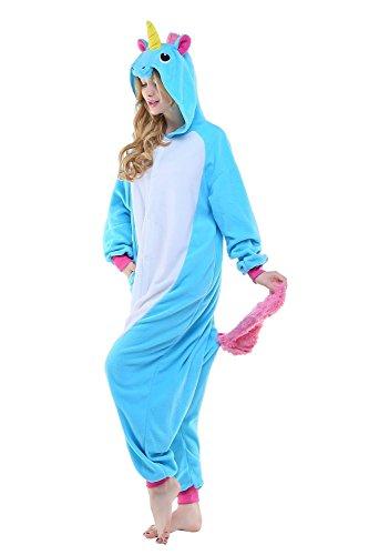 ABYED® Kostüm Jumpsuit Onesie Tier Fasching Karneval Halloween kostüm Erwachsene Unisex Cosplay Schlafanzug- Größe S - für Höhe 148-155cm, Blaue Einhorn - 3