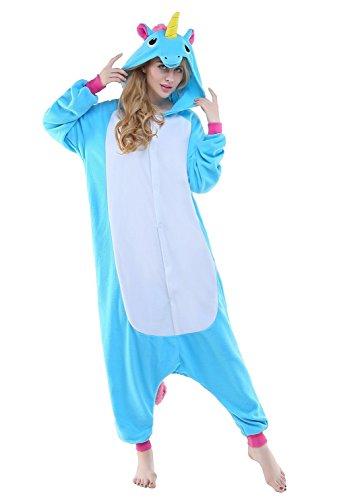 ABYED® Kostüm Jumpsuit Onesie Tier Fasching Karneval Halloween kostüm Erwachsene Unisex Cosplay Schlafanzug- Größe S - für Höhe 148-155cm, Blaue Einhorn - 4
