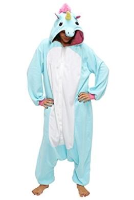Anbelarui Tier Skelett Pinguin Dinosaurier Panda Einhorn Kostüm Damen Herren Pyjama Jumpsuit Nachtwäsche Halloween Karneval Fasching Cosplay Kleidung S/M/L/XL (M, Blaues Einhorn) - 1