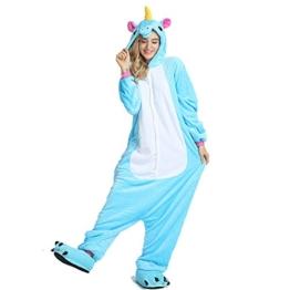 Crazy lin Einhorn Pyjamas Tier Jumpsuit Erwachsene Fasching Kostüm Unisex Sleepsuit Cosplay Nachtwäsche(M, Blau) - 1