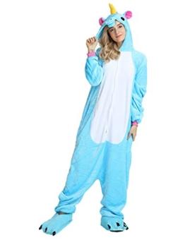 Einhorn Kostüm Pyjama Jumpsuit Cosplay Schalfanzug Festliche Anzug Flanell Tierkostüm Kartonkostüm Tierschalfanzug(XL,Blau) - Mescara - 1