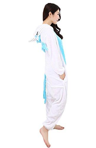 Einhorn Pyjamas Jumpsuit Kostüm Tier Schlafanzug Cosplay Karneval Fasching (Einhorn), Blau, Gr. S: für Höhe 148-157 - 2