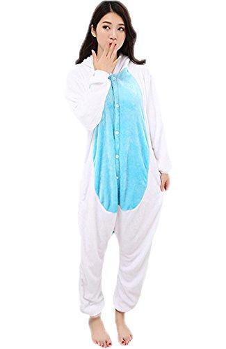 Einhorn Pyjamas Jumpsuit Kostüm Tier Schlafanzug Cosplay Karneval Fasching (Einhorn), Blau, Gr. S: für Höhe 148-157 - 3