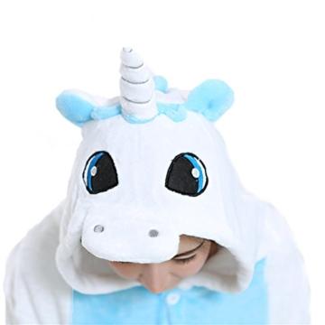 Einhorn Pyjamas Jumpsuit Kostüm Tier Schlafanzug Cosplay Karneval Fasching (Einhorn), Blau, Gr. S: für Höhe 148-157 - 4