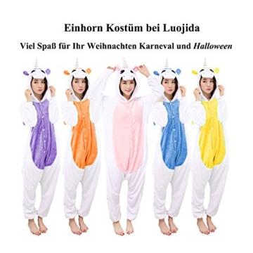 Einhorn Pyjamas Jumpsuit Kostüm Tier Schlafanzug Cosplay Karneval Fasching (Einhorn), Blau, Gr. S: für Höhe 148-157 - 6