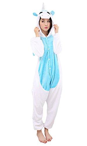 Einhorn Pyjamas Jumpsuit Kostüm Tier Schlafanzug Cosplay Karneval Fasching (Einhorn), Blau, Gr. S: für Höhe 148-157 - 1