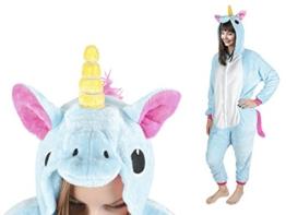 Iso Trade Einhorn Kostüm Tier Jumpsuits Einteiler Fasching Halloween Blau S M XL #4553, Größe:M - 1