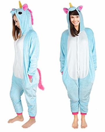 Iso Trade Einhorn Kostüm Tier Jumpsuits Einteiler Fasching Halloween Blau S M XL #4553, Größe:M - 4