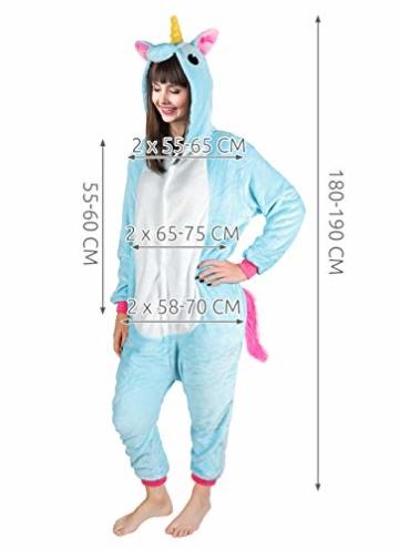 Iso Trade Einhorn Kostüm Tier Jumpsuits Einteiler Fasching Halloween Blau S M XL #4553, Größe:M - 8