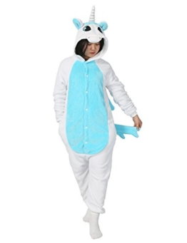 LATH.PIN Tier Pyjama Einhorn Kostüm Karton Tierkostüme Halloween Kostüme Jumpsuit Erwachsene Schlafanzug Unisex Cosplay- Gr, S(Höhe142-155CM), Einhorn blau - 1