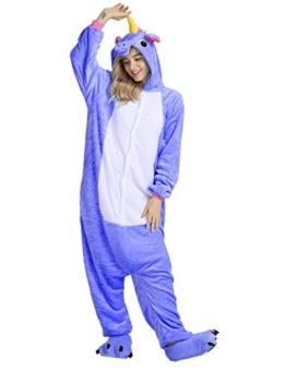 Mescara Einhorn Kostüm Pyjama Jumpsuit Cosplay Schalfanzug Anzug Flanell Tierkostüm Kartonkostüm Tierschalfanzug Fasching S (für 145-154 cm), Blau-2 - 1