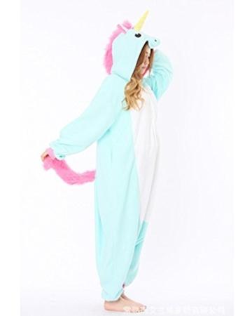Minetom Einhorn Pyjamas Kostüm Jumpsuit -Karneval Cosplay Tier Schlafanzug Onesize Erwachsene Unisex Blau S - 2