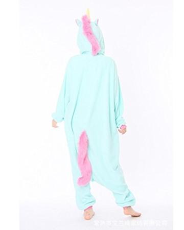 Minetom Einhorn Pyjamas Kostüm Jumpsuit -Karneval Cosplay Tier Schlafanzug Onesize Erwachsene Unisex Blau S - 3
