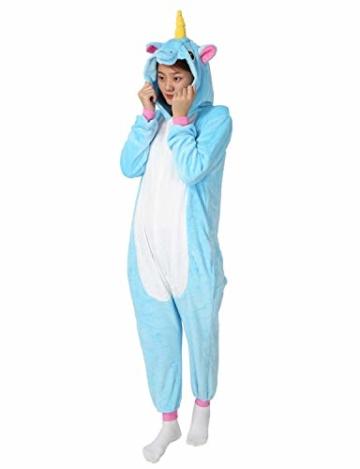 Très Chic Mailanda Einhorn Pyjamas Kostüm Jumpsuit -Karneval Cosplay Tier Schlafanzug Onesies Erwachsene Unisex Kigurumi (Large, Blau) - 2
