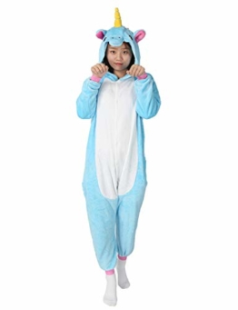 Très Chic Mailanda Einhorn Pyjamas Kostüm Jumpsuit -Karneval Cosplay Tier Schlafanzug Onesies Erwachsene Unisex Kigurumi (Large, Blau) - 1
