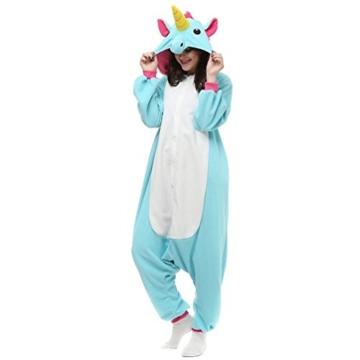 Unicsex Süß Einhorn Overall Pyjama Jumpsuit Kostüme Schlafanzug Für Kinder / Erwachsene (S, Blau) - 2