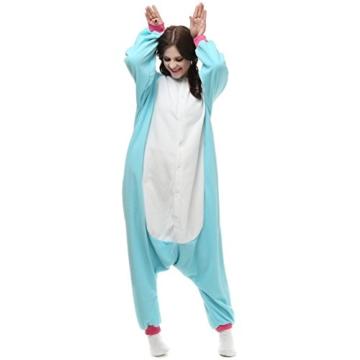 Unicsex Süß Einhorn Overall Pyjama Jumpsuit Kostüme Schlafanzug Für Kinder / Erwachsene (S, Blau) - 3