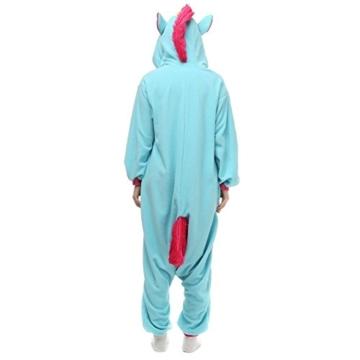 Unicsex Süß Einhorn Overall Pyjama Jumpsuit Kostüme Schlafanzug Für Kinder / Erwachsene (S, Blau) - 4