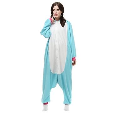Unicsex Süß Einhorn Overall Pyjama Jumpsuit Kostüme Schlafanzug Für Kinder / Erwachsene (S, Blau) - 1