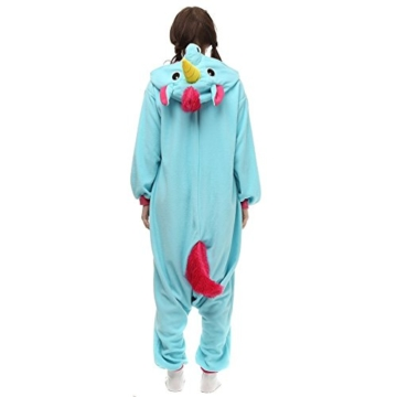 Unicsex Süß Einhorn Overall Pyjama Jumpsuit Kostüme Schlafanzug Für Kinder / Erwachsene (S, Blau) - 5
