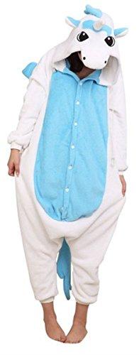 WOWcosplay Jumpsuit Tier Cartoon Fasching Halloween Kost¨¹m Sleepsuit Cosplay Fleece-Overall Pyjama Schlafanzug Erwachsene Unisex Kigurumi Tier Onesize,Blaue Einhorn S - 1