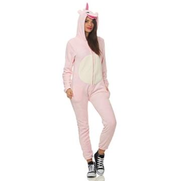 93C4 LBB Damen Jumpsuit Einteiler Overall Tier Anzug Rosa Einhorn Gr XL - 1