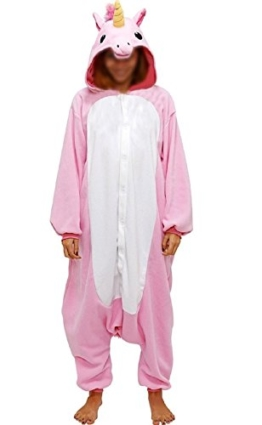 Anbelarui Tier Skelett Pinguin Dinosaurier Panda Einhorn Kostüm Damen Herren Pyjama Jumpsuit Nachtwäsche Halloween Karneval Fasching Cosplay Kleidung S/M/L/XL (L, Rosa Einhorn) - 1