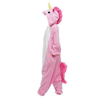 Anebalrui Einhorn Kostüm Tier Jumpsuits Pyjama Oberall Hausanzug Fastnachtskostuem Schlafanzug Schlafanzug Erwachsene Fasching Cosplay Karneval (XL, Rosa Einhorn) - 3