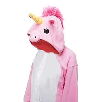 Anebalrui Einhorn Kostüm Tier Jumpsuits Pyjama Oberall Hausanzug Fastnachtskostuem Schlafanzug Schlafanzug Erwachsene Fasching Cosplay Karneval (XL, Rosa Einhorn) - 4