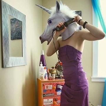 Boodtag Pferde Maske Einhornmaske Einhorn Latex Maske Halloween Party Kostüm Tiermaske Cosplay (A) - 2