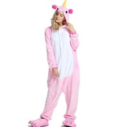 Crazy lin Einhorn Pyjamas Tier Jumpsuit Erwachsene Fasching Kostüm Unisex Sleepsuit Cosplay Nachtwäsche(M, Rosa) - 1