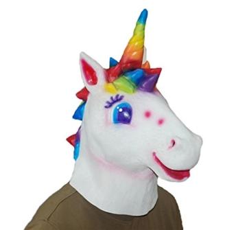 DylunSky Weihnachten Halloween Latex Maske Einhorn Kopf Regenbogen Farbige Einhorn Maske - 2