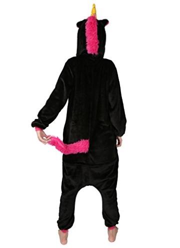 Einhorn jumpsuit Schlafanzug Damen Einhorn kostüm tier jumpsuit Erwachsene Flanell Cosplay zum Karneval Fasching (Pferd) (S: für Höhe 148-157, Schwarz) - 2