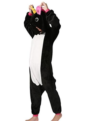 Einhorn jumpsuit Schlafanzug Damen Einhorn kostüm tier jumpsuit Erwachsene Flanell Cosplay zum Karneval Fasching (Pferd) (S: für Höhe 148-157, Schwarz) - 3