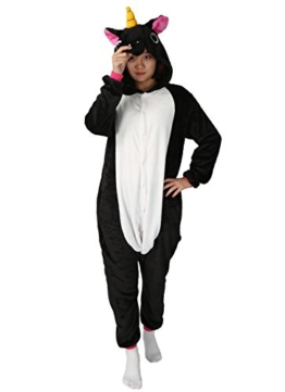 Einhorn jumpsuit Schlafanzug Damen Einhorn kostüm tier jumpsuit Erwachsene Flanell Cosplay zum Karneval Fasching (Pferd) (S: für Höhe 148-157, Schwarz) - 1