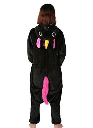 Einhorn jumpsuit Schlafanzug Damen Einhorn kostüm tier jumpsuit Erwachsene Flanell Cosplay zum Karneval Fasching (Pferd) (S: für Höhe 148-157, Schwarz) - 4