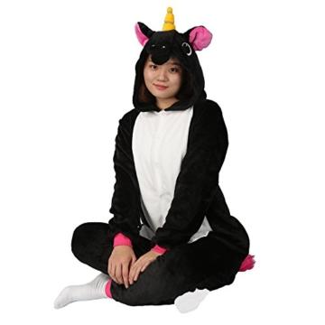 Einhorn jumpsuit Schlafanzug Damen Einhorn kostüm tier jumpsuit Erwachsene Flanell Cosplay zum Karneval Fasching (Pferd) (S: für Höhe 148-157, Schwarz) - 5