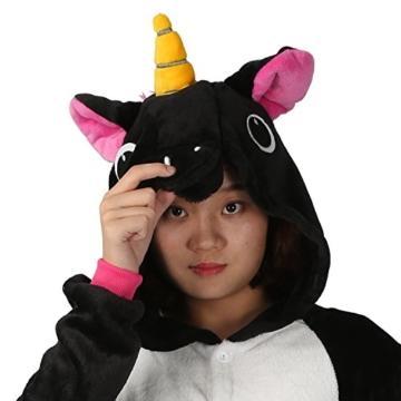 Einhorn jumpsuit Schlafanzug Damen Einhorn kostüm tier jumpsuit Erwachsene Flanell Cosplay zum Karneval Fasching (Pferd) (S: für Höhe 148-157, Schwarz) - 6