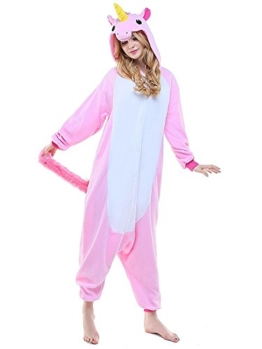Einhorn Kostüm Pyjama Jumpsuit Cosplay Schalfanzug Festliche Anzug Flanell Tierkostüm Kartonkostüm Tierschalfanzug(S,rosa) - Mescara - 1