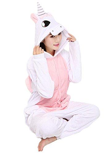 Einhorn Pyjamas Jumpsuit Kostüm Tier Schlafanzug Cosplay Karneval Fasching (Einhorn), Pink, Gr. S: für Höhe 148-157 - 4