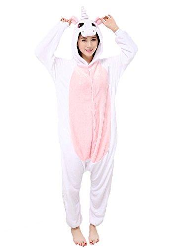 Einhorn Pyjamas Jumpsuit Kostüm Tier Schlafanzug Cosplay Karneval Fasching (Einhorn), Pink, Gr. S: für Höhe 148-157 - 1