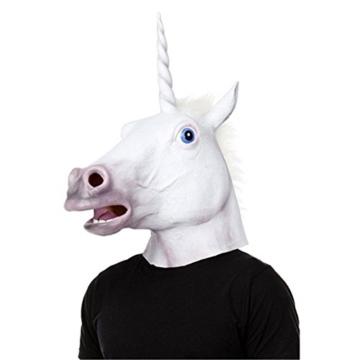 JRing Einhorn Kopf Maske Latex Pferd für Kostüm Fancy Dress Party Halloween, Creepy Adult Einhorn Kopf Latex Gummi Maske (Einhorn) - 3