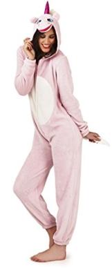 Loungeable, Damen Luxus 3D Einhorn Alles in Einem Jumpsuit Einteiler, Pink, EU 44-46 - 1