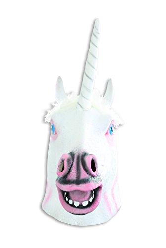 Maske Einhorn weiß Einhornmaske hochwertig Pferdemaske Phantasiefigur Fantasie Unicorn Tiermaske Vollmaske Kostümergänzung Gesichtsmaske Latexmaske - 3