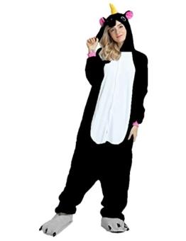 Mescara Einhorn Kostüm Pyjama Jumpsuit Cosplay Schalfanzug Anzug Flanell Tierkostüm Kartonkostüm Tierschalfanzug Fasching XL (für 175-184 cm), Schwarz - 1