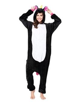 Minetom Flanell Karikatur Tier Pyjama Kostüm Für Halloween Karneval Fasching Unisex Erwachsene Schlafanzug Jumpsuit Anime Cosplay Einhorn Schwarz L(170-180CM) - 1