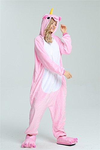 Missley Einhorn Pyjamas Kostüm Overall Tier Nachtwäsche Erwachsene Unisex Cosplay (S, pink) - 2